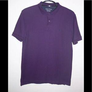 Nautica Performance Deck Shirt Purple Polo Size M